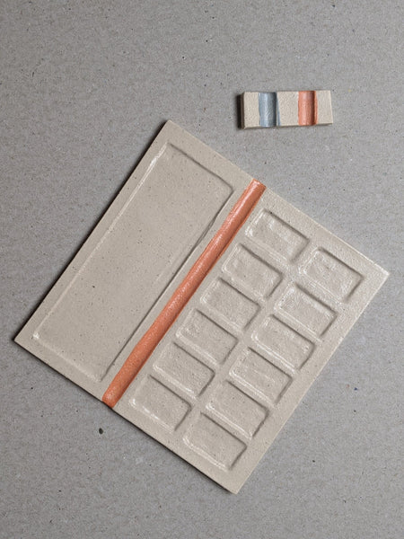Stoneware paint palette - orange V2 - The Stationery Cupboard
