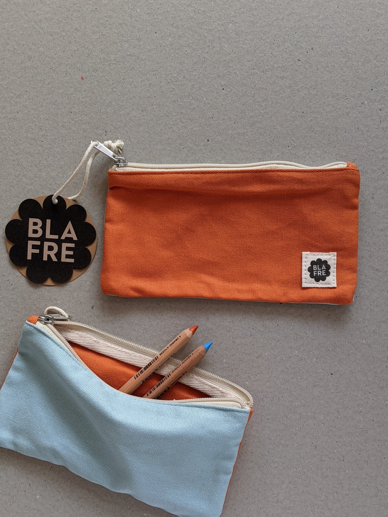 Two Tone Pencil Case, Orange & Blue - The Stationery Cupboard