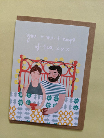 'You + me + cups of tea' card - The Stationery Cupboard
