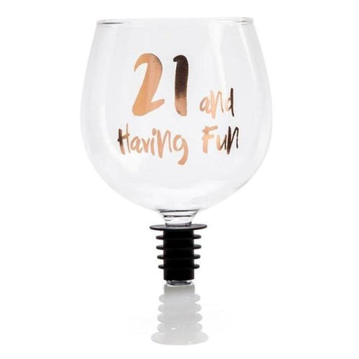 21st and Having Fun Tipple Topper Wine Glass - Birthday Gift - Mystery Planet