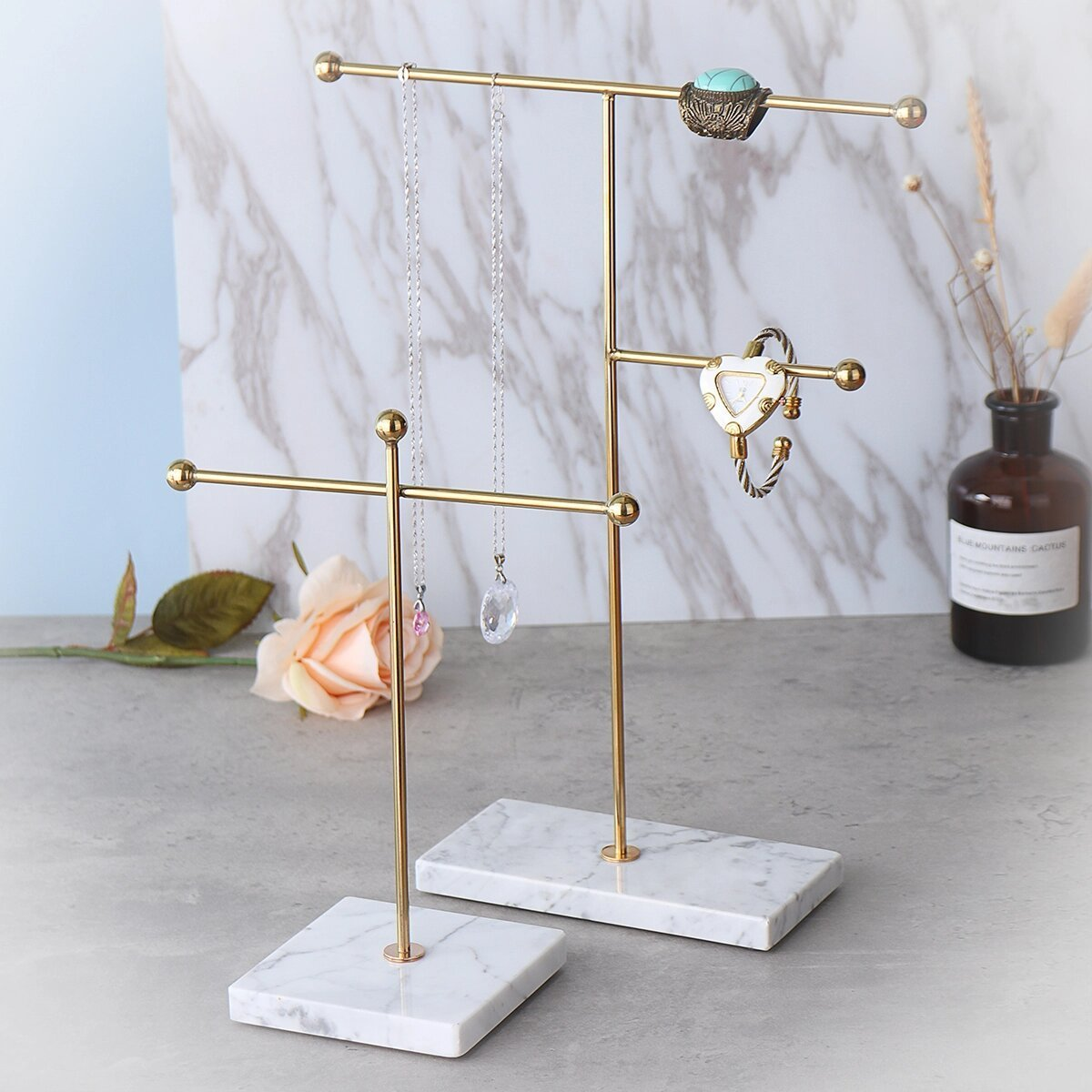 Jewelry Necklace Holder Organizer Elegant Marble Stand No Assembly Super Buzz Store