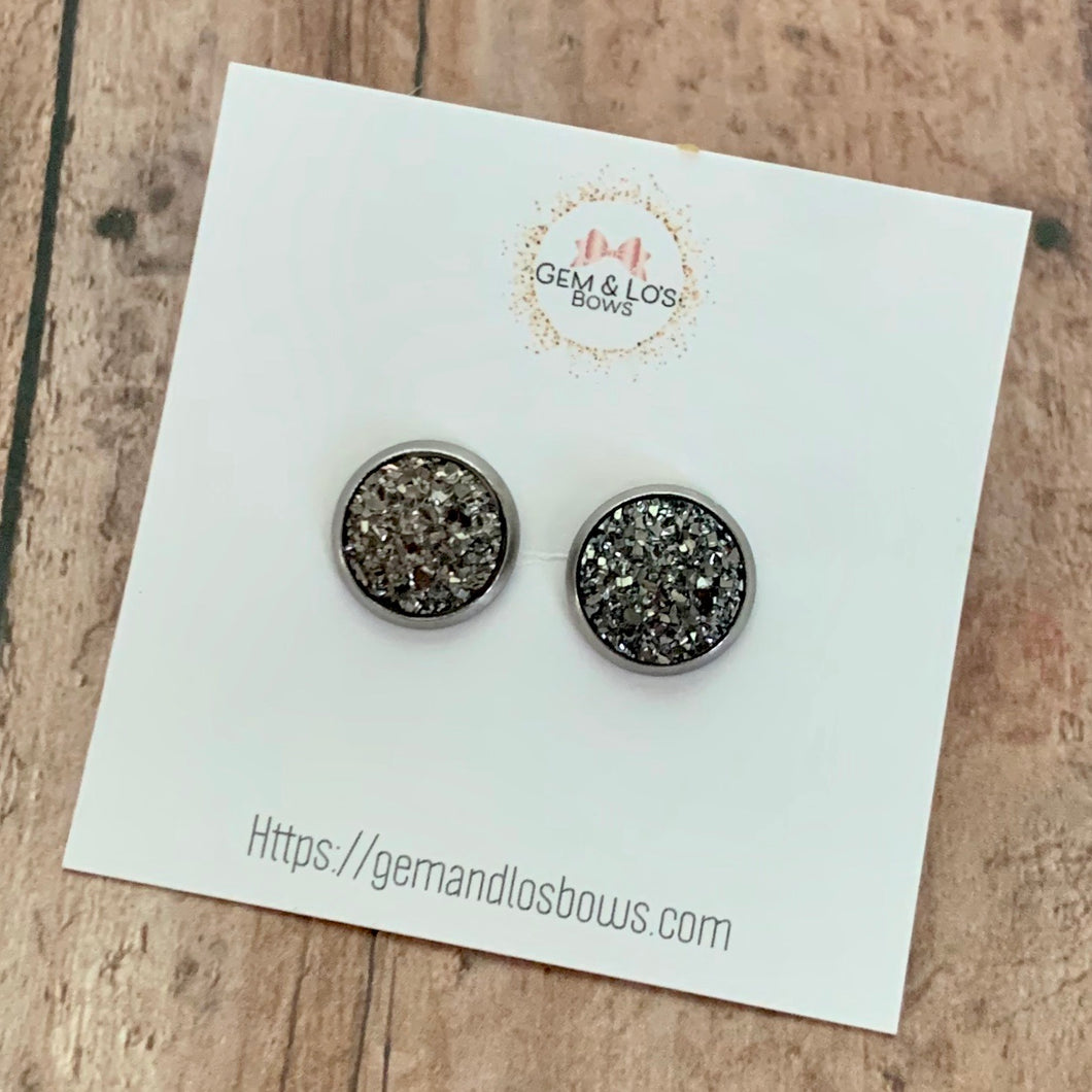 Earrings- GUNMETAL DRUZY
