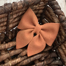 Load image into Gallery viewer, Suede Bow- CINNAMON SPARKLE