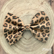 Load image into Gallery viewer, Suede Bow- TAN LEOPARD