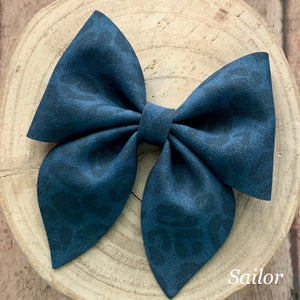 Suede Bow- NAVY LEOPARD