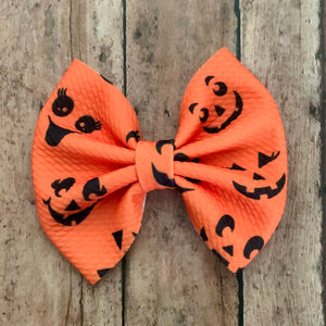Fabric Bow- JACK O' LANTERN FACES