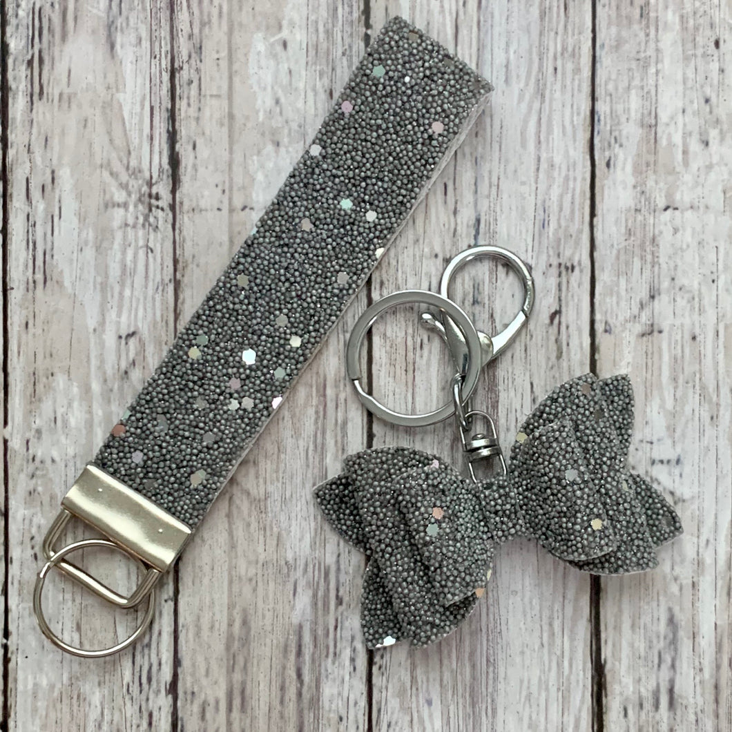 Keychain- GRAY BEADED