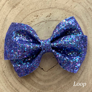 Glitter Bow- BLUE SHINE