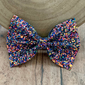 Glitter Bow- BLUE FLAME