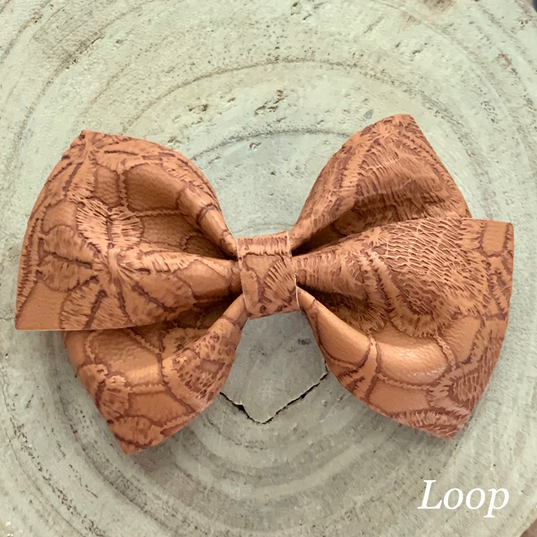 Leather Bow- BROWN EMBOSSED