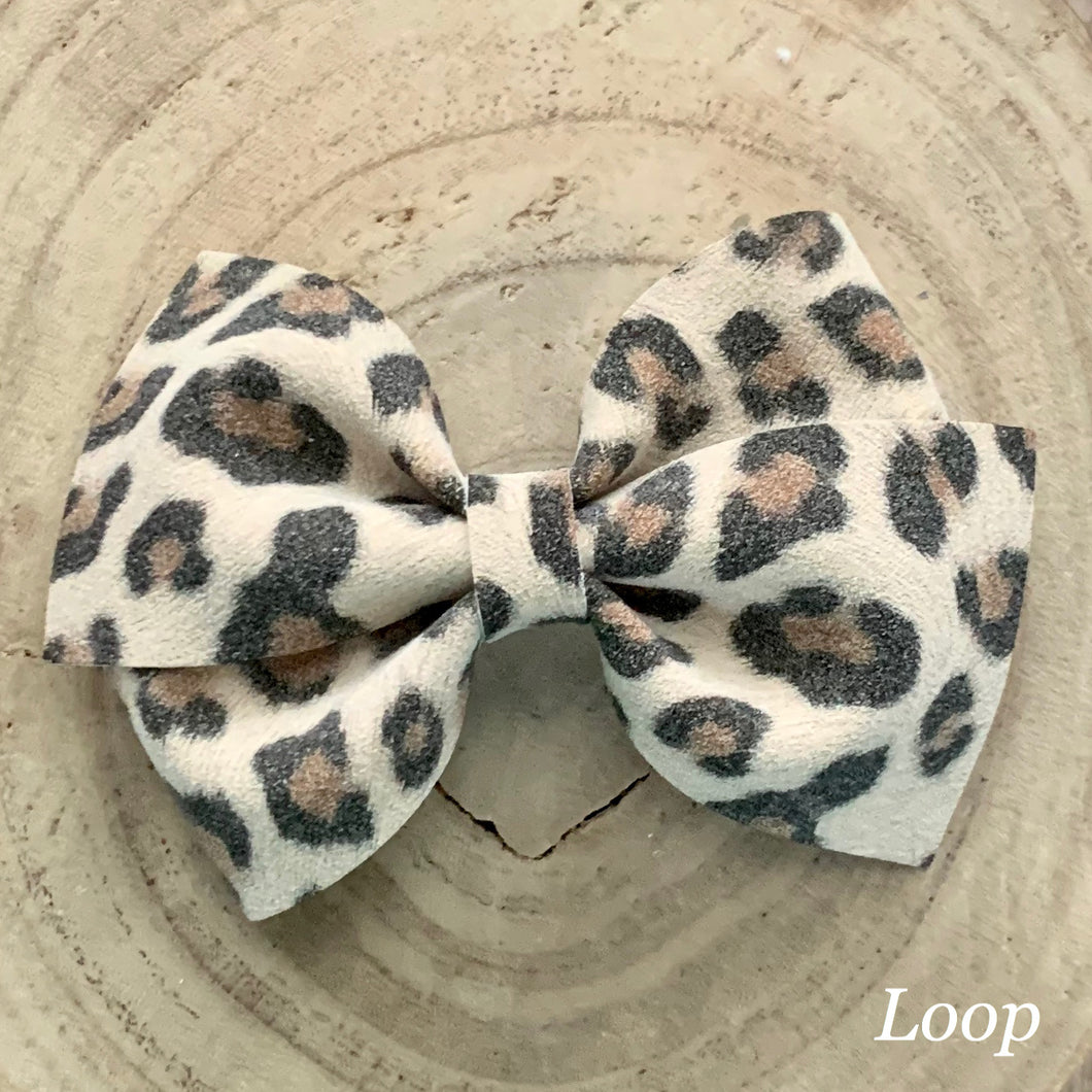 Suede Bow- CREAM LEOPARD