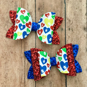 Leather Print- AUTISM PUZZLE HEARTS