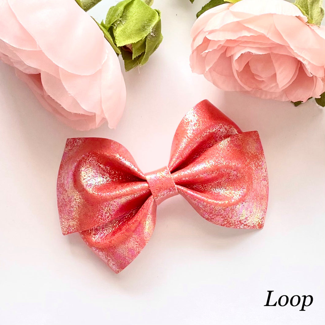 Leather Bow- IRIDESCENT RED