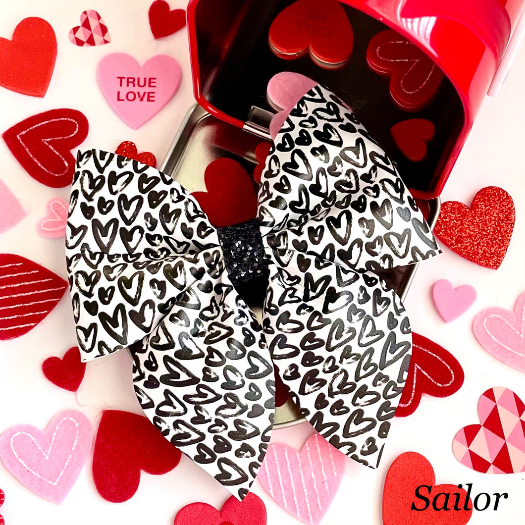 Leather Print- MONOCHROME HEARTS