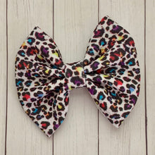 Load image into Gallery viewer, Fabric Bow- RAINBOW LEOPARD