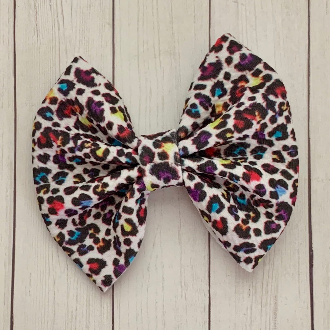 Fabric Bow- RAINBOW LEOPARD