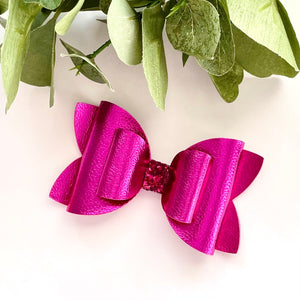 Leather Bow- METALLIC ROSE