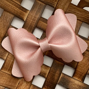 Leather Bow- SMOOTH METALLIC ROSE