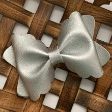 Load image into Gallery viewer, Leather Bow- SMOOTH METALLIC SILVER