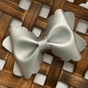 Leather Bow- SMOOTH METALLIC SILVER