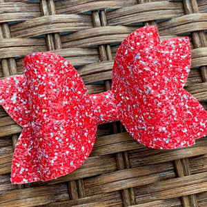 Glitter Bow- RUBY RED