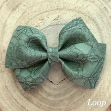 Load image into Gallery viewer, Leather Bow- GREEN EMBOSSED