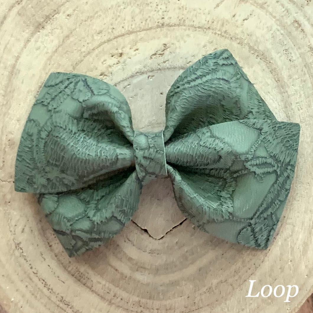 Leather Bow- GREEN EMBOSSED