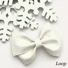 Load image into Gallery viewer, Glitter Bow- WHITE SNOWFLAKES