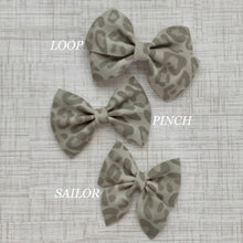 Load image into Gallery viewer, Suede Bow- GRAY LEOPARD