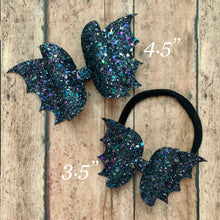 Load image into Gallery viewer, Bat Bow- BLACK GLITTER