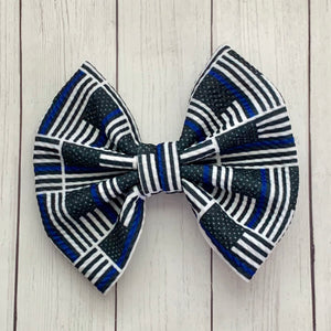 Fabric Bow- BLUE LINE FLAG