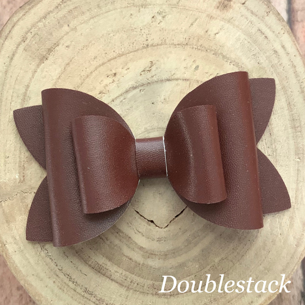 Leather Bow- SMOOTH BROWN