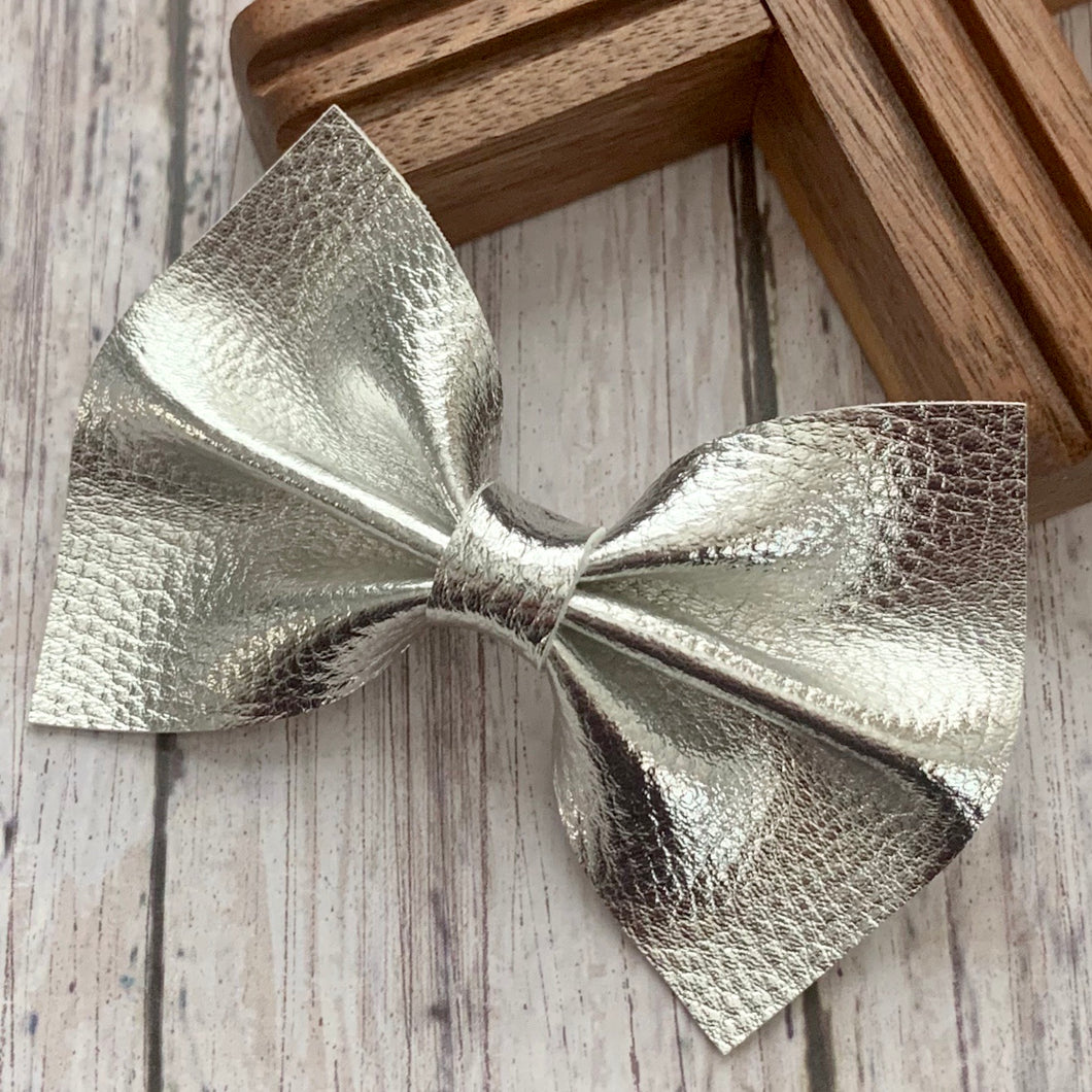 Leather Bow- SILVER