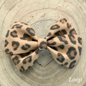 Suede Bow- TAN LEOPARD