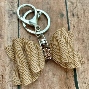 Keychain- TAN CHEVRON