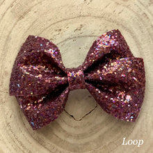 Load image into Gallery viewer, Glitter Bow- BURGUNDY SHINE