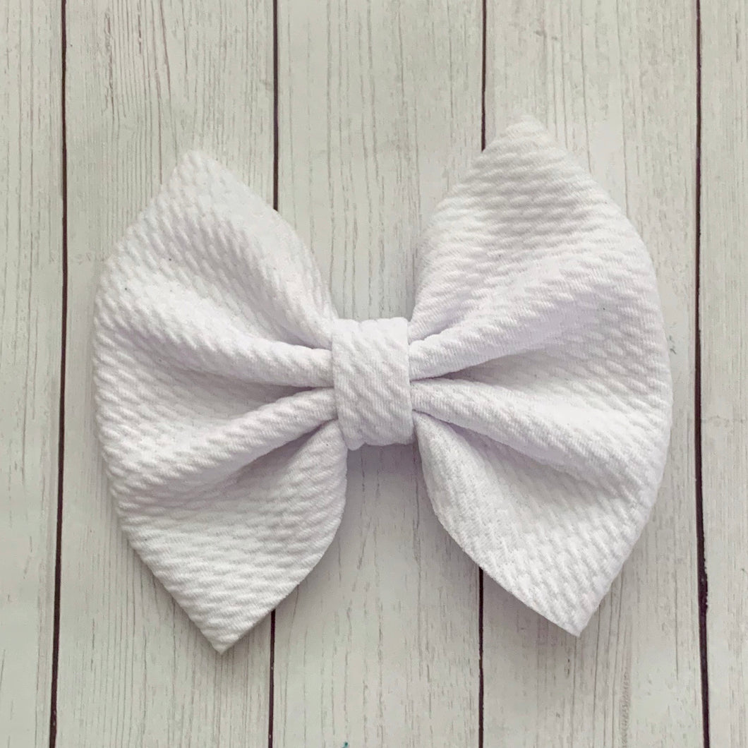 Fabric Bow- WHITE