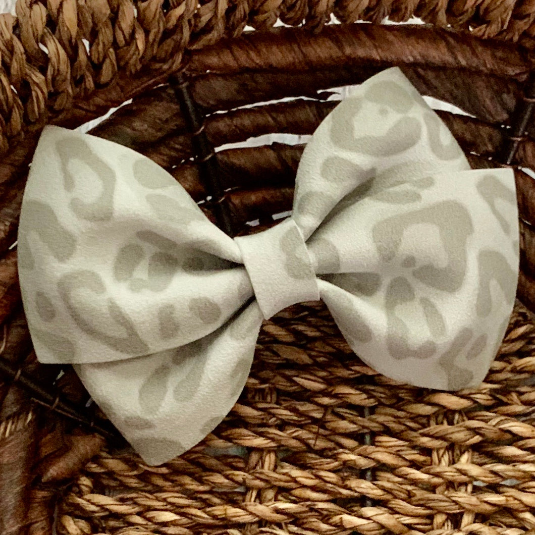 Suede Bow- GRAY LEOPARD