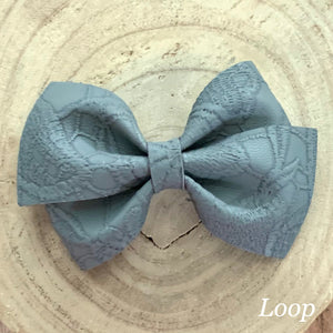 Leather Bow- GRAY EMBOSSED