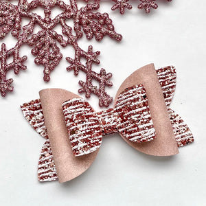 Glitter Bow- ROSE GOLD DRIZZLE