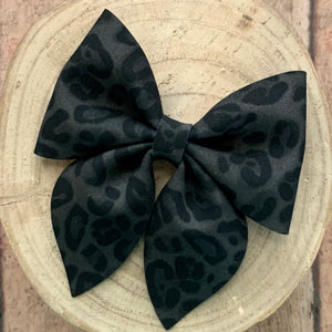 Suede Bow- BLACK LEOPARD