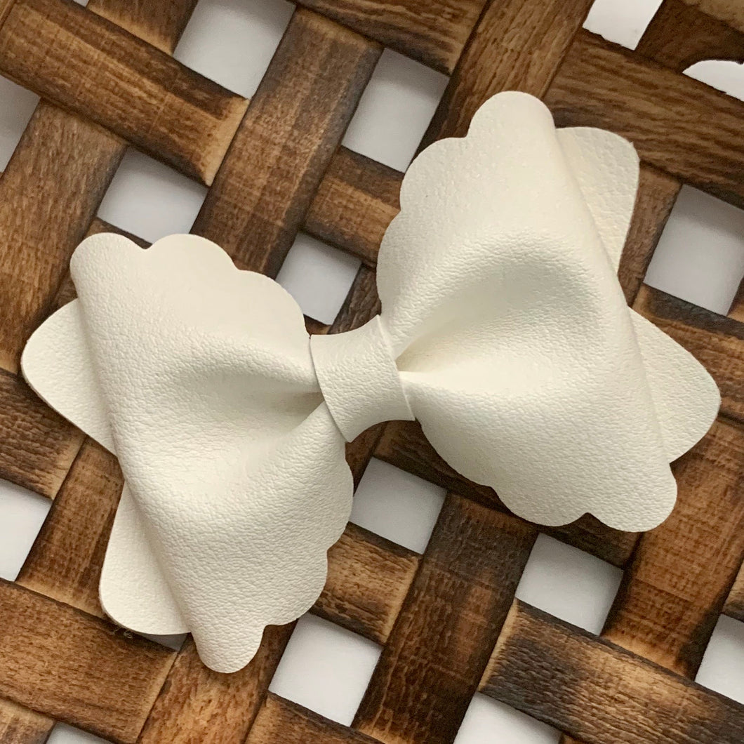 Leather Bow- SMOOTH METALLIC WHITE