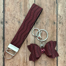 Load image into Gallery viewer, Keychain- BURGUNDY CHEVRON