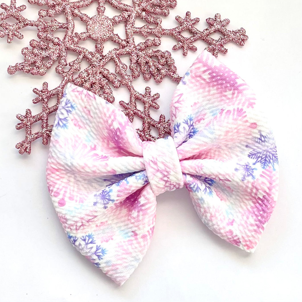 Fabric Bow- SNOWFLAKE SEASON