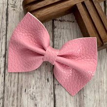 Load image into Gallery viewer, Leather Bow- BUBBLEGUM