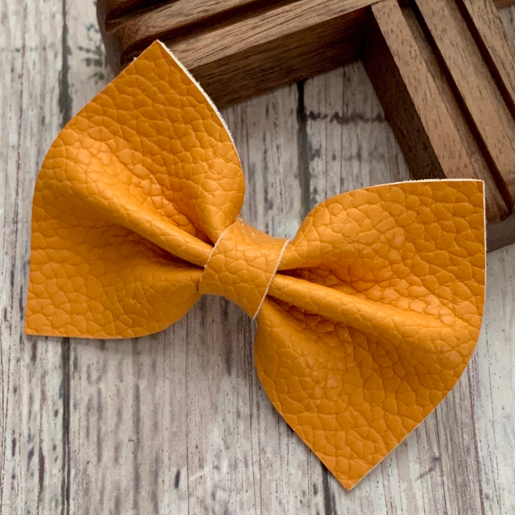 Leather Bow- GOLDEN