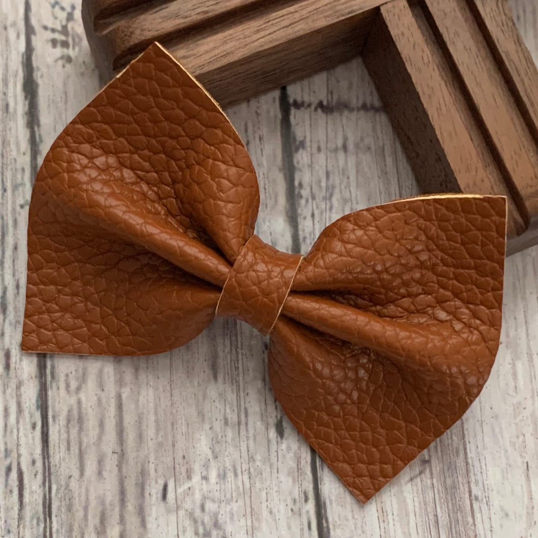 Leather Bow- COGNAC