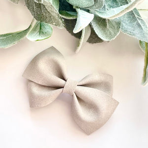 Suede Bow- GRAY