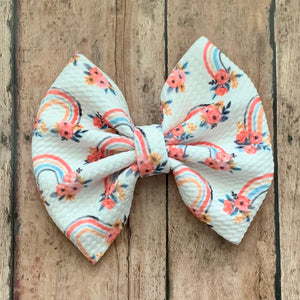 Fabric Bow- FLORAL RAINBOWS