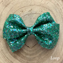 Load image into Gallery viewer, Glitter Bow- GREEN SHINE